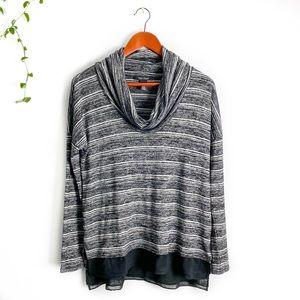 WHBM Striped Sweater with Cowl Neckline